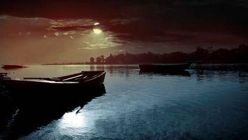 Бесплатные фото озеро,лодки,ночь,луна