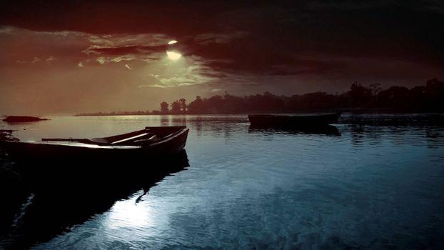 Фото бесплатно озеро, лодки, ночь