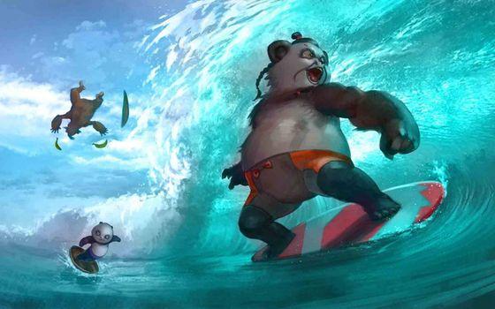 Фото бесплатно панды, серфинг, море, волна