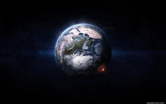 Фото бесплатно планета, удар астероида