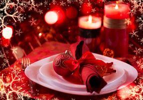 Заставки Новый год, новогодние обои, новогодний стол