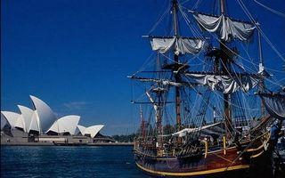 Сидней, опера, достопримечательность, море, корабль
