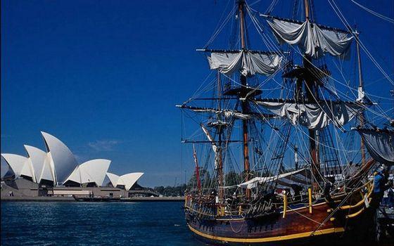 Бесплатные фото Сидней,опера,достопримечательность,море,корабль,мачты,паруса