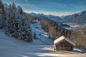 Бесплатные фото Бавария,Германия,зима,дома,дорога,деревья,пейзаж