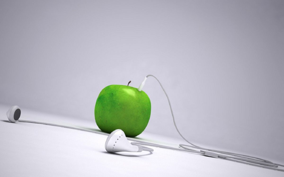 Фото бесплатно яблоко, зеленое, штекер - на рабочий стол