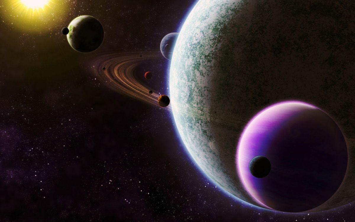 Фото бесплатно планеты, солнце, звезды, свечение, невесомость, вакуум, космос