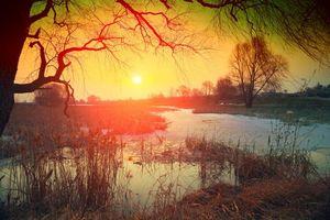 Заставки осень, река, закат, деревья, пейзаж