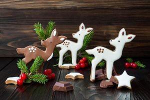 Обои праздник, новый год, печенье, глазурь, шоколад
