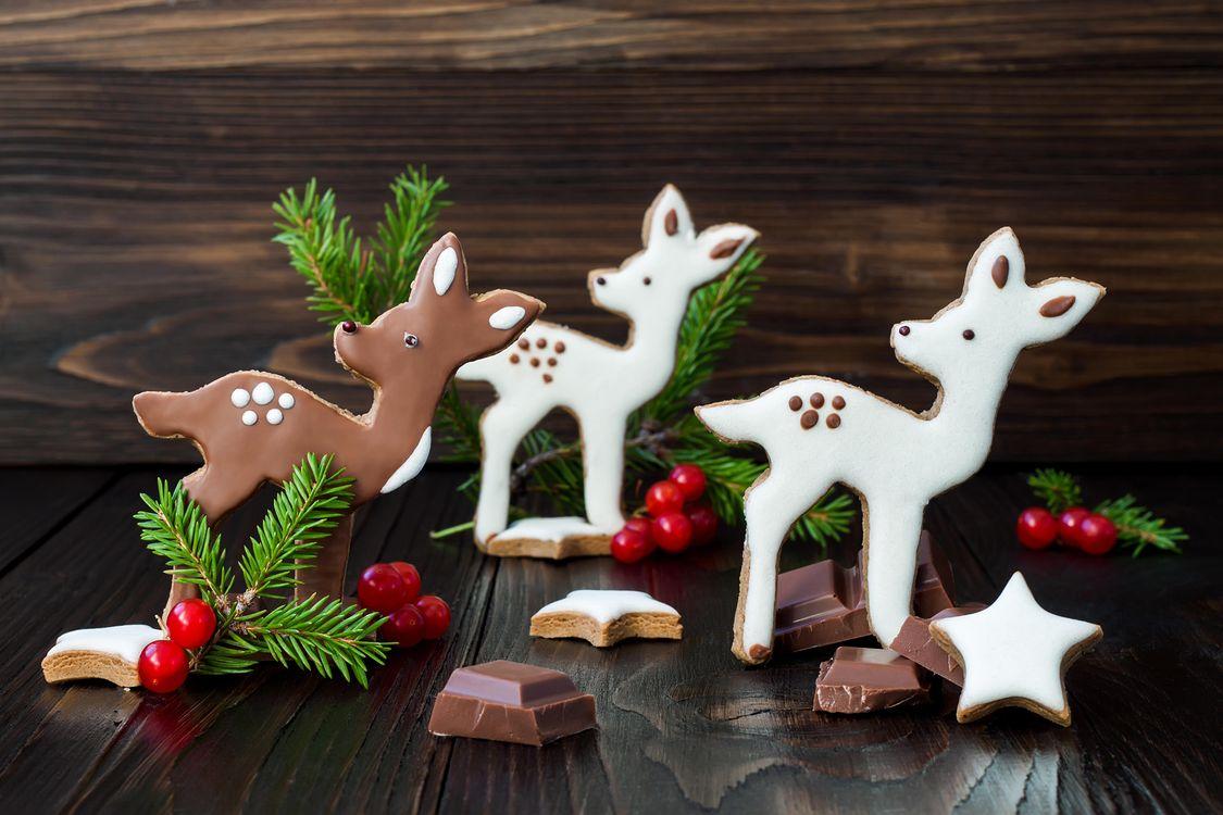 Обои праздник, новый год, печенье, глазурь, шоколад на телефон | картинки новый год