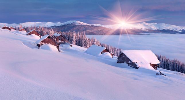 Бесплатные фото зима,закат,домики,снег,деревья,горы,пейзаж