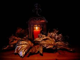 Photo free candle, leaves, still life