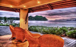 Бесплатные фото море,остров,берег,растительность,беседка,подсветка,кресла