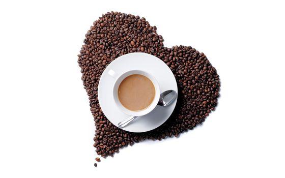 Фото бесплатно кофе, зерна, сердце