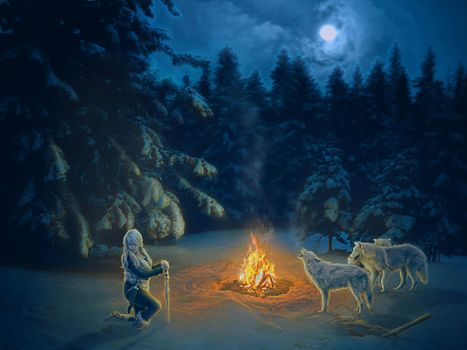 Бесплатные фото ночь,костёр,девушка,волки