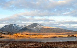 Бесплатные фото озеро,деревья,горы,снег,небо,облака